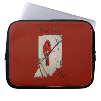 A Cardinal Inside the Shape of Indiana Laptop Sleeve
