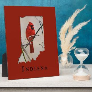 A Cardinal Inside the Shape of Indiana Plaque