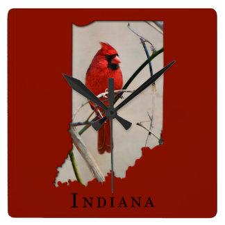 A Cardinal Inside the Shape of Indiana Square Wall Clock