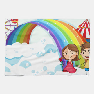 A carnival in the sky with a rainbow kitchen towels