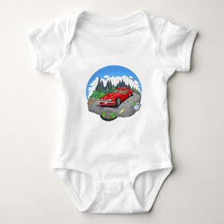 A cartoon illustration of a car. baby bodysuit