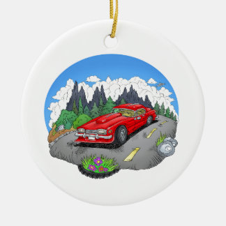A cartoon illustration of a car. ceramic ornament