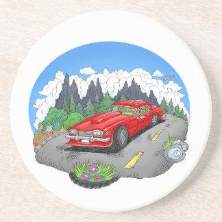A cartoon illustration of a car. coaster
