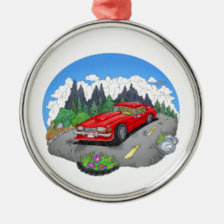 A cartoon illustration of a car. metal ornament