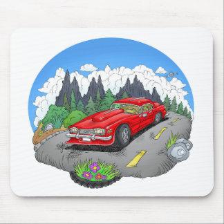 A cartoon illustration of a car. mouse pad