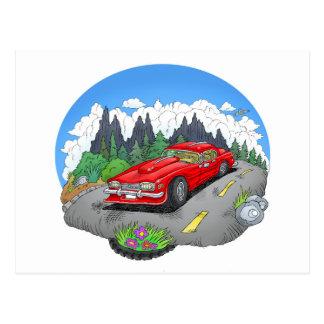 A cartoon illustration of a car. postcard