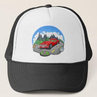 A cartoon illustration of a car. trucker hat