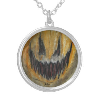 A Carved Smile Upon a Pumpkin Face Round Pendant Necklace