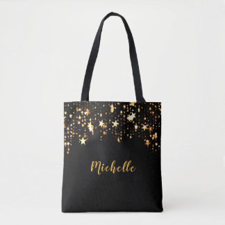 A cascade of golden stars on black add name tote bag