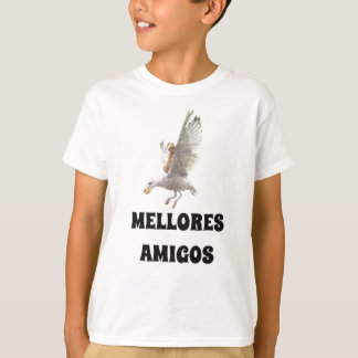 A cat and a seagull and best friends in Galician T-Shirt