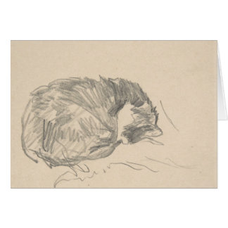 A Cat Curled Up, Sleeping by Edouard Manet. Card