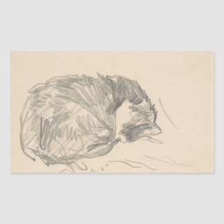 A Cat Curled Up, Sleeping by Edouard Manet. Sticker