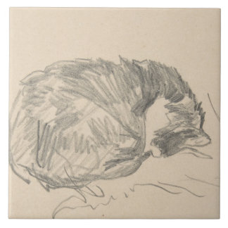 A Cat Curled Up, Sleeping by Edouard Manet. Tile