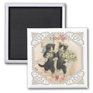 A Cat Lover's Save the Date Wedding Square Magnet