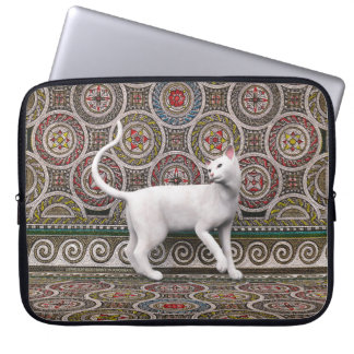 A cat on the mosaic laptop sleeve