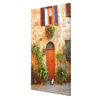 A cat seeks entrance to home in Pienza, Italy. Stretched Canvas Print
