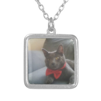 A Cat With A Bow Tie Smiling Silver Plated Necklace