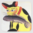 A cat with a fish in its mouth, from the Rudyard K Square Sticker