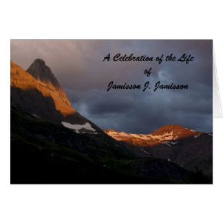 A Celebration of Life Invitation, Glacier Sunrise Card