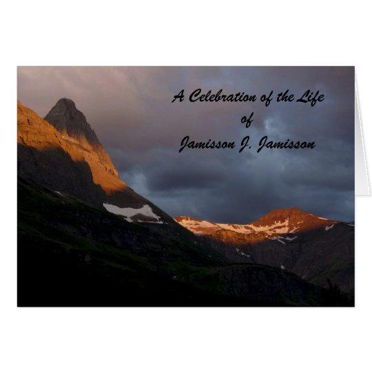 A Celebration of Life Invitation, Glacier Sunrise Card