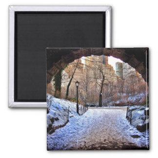 A Central Park Bridge In Winter Square Magnet