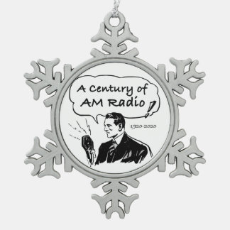 A Century of AM Radio Snowflake Pewter Christmas Ornament