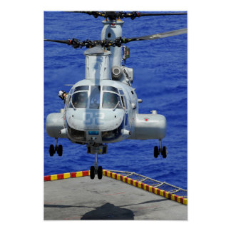 A CH-46E Sea Knight helicopter Poster