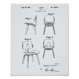 A Chair 1949 Patent Art - White Paper Poster
