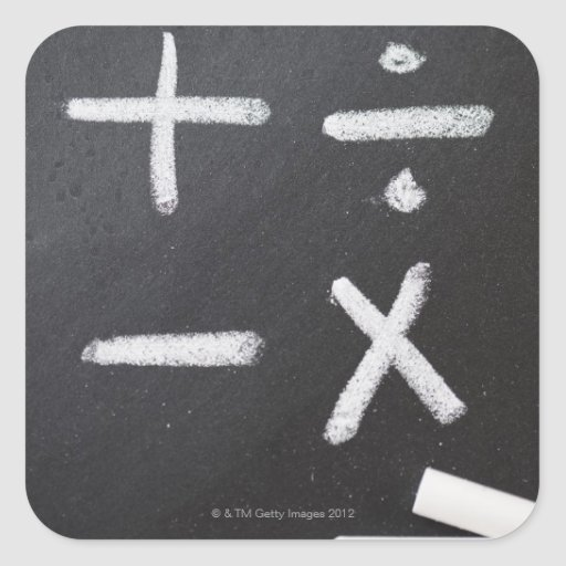 A chalkboard with mathematic symbols on it square sticker