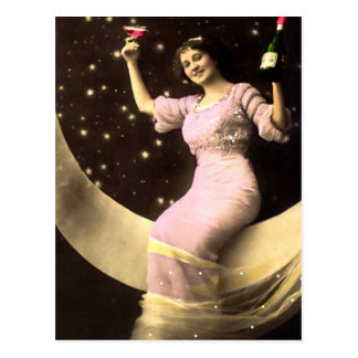 A Champagne Toast on the Moon Postcard