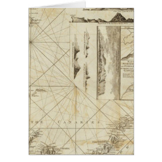 A chart of the Maderas and Canary Islands Greeting Card