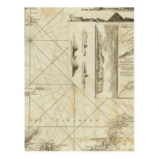 A chart of the Maderas and Canary Islands Postcard