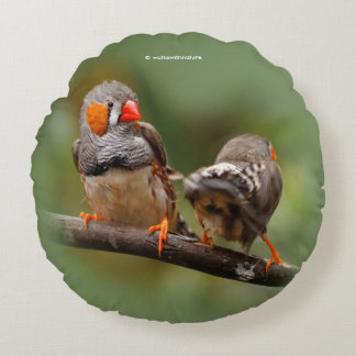 A Cheeky Pair of Zebra Finches Round Pillow