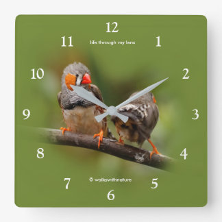 A Cheeky Pair of Zebra Finches Wall Clock