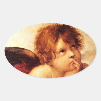 A Cherub, Detail of the Sistine Madonna - Raphael Oval Sticker