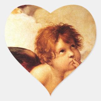 A Cherub, Detail of the Sistine Madonna - Raphael Heart Stickers