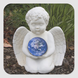 A cherub in the garden cradles the earth square sticker