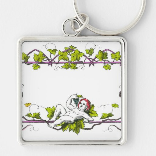 A cherub lounging on a trellis eating grapes keychains