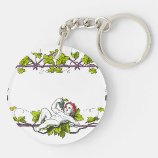A cherub lounging on a trellis eating grapes Double-Sided round acrylic keychain