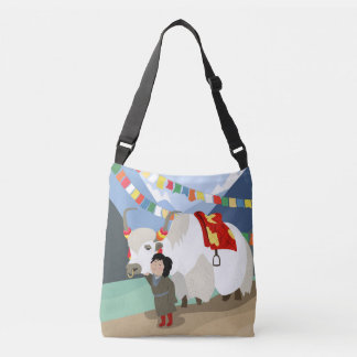 A child and best friend pet Tibetan yak colorful Crossbody Bag