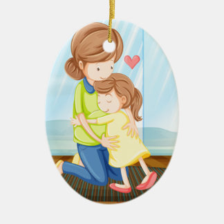 A child hugging her mother ceramic oval ornament