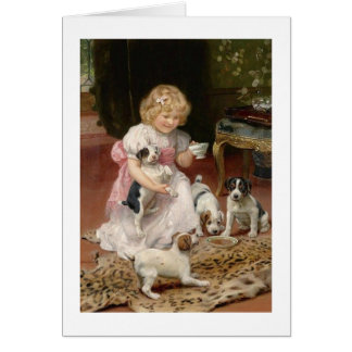 A Child's Tea with Her Puppies, Card