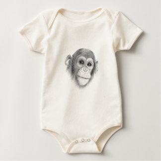 A Chimpanzee, Not Monkeying Around Sketch Baby Bodysuit