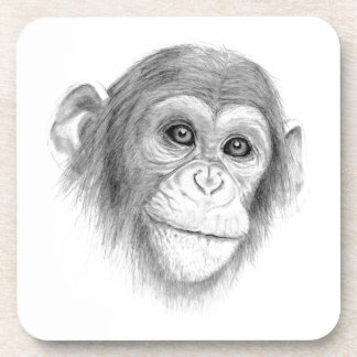 A Chimpanzee, Not Monkeying Around Sketch Beverage Coasters
