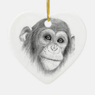 A Chimpanzee, Not Monkeying Around Sketch Ceramic Ornament
