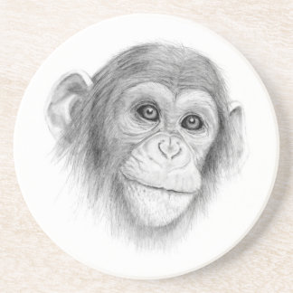 A Chimpanzee, Not Monkeying Around Sketch Coaster