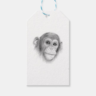 A Chimpanzee, Not Monkeying Around Sketch Gift Tags