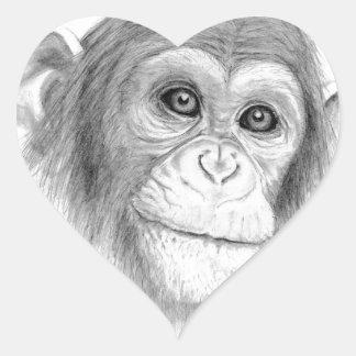 A Chimpanzee, Not Monkeying Around Sketch Heart Sticker