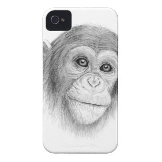 A Chimpanzee, Not Monkeying Around Sketch iPhone 4 Case