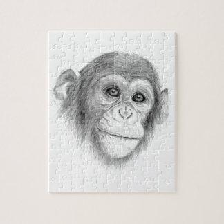 A Chimpanzee, Not Monkeying Around Sketch Jigsaw Puzzle